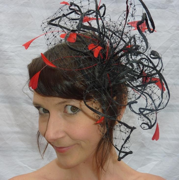 The Queen of Hearts  -  Merry Widow Veiling and Feather Fascinator