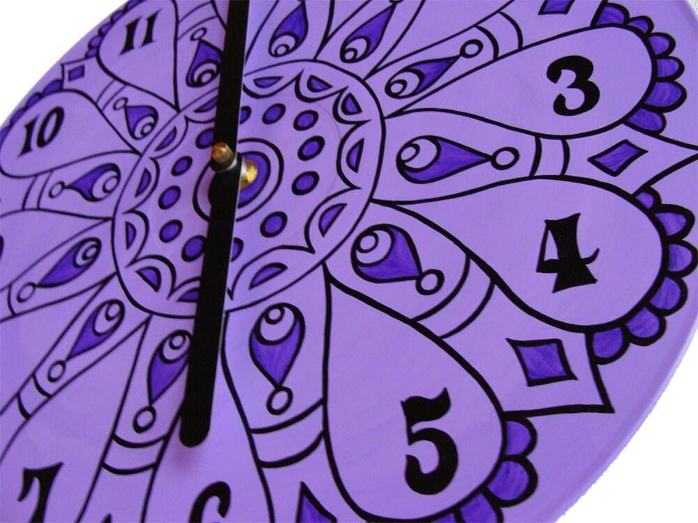 Lavender Mandala Record Clock
