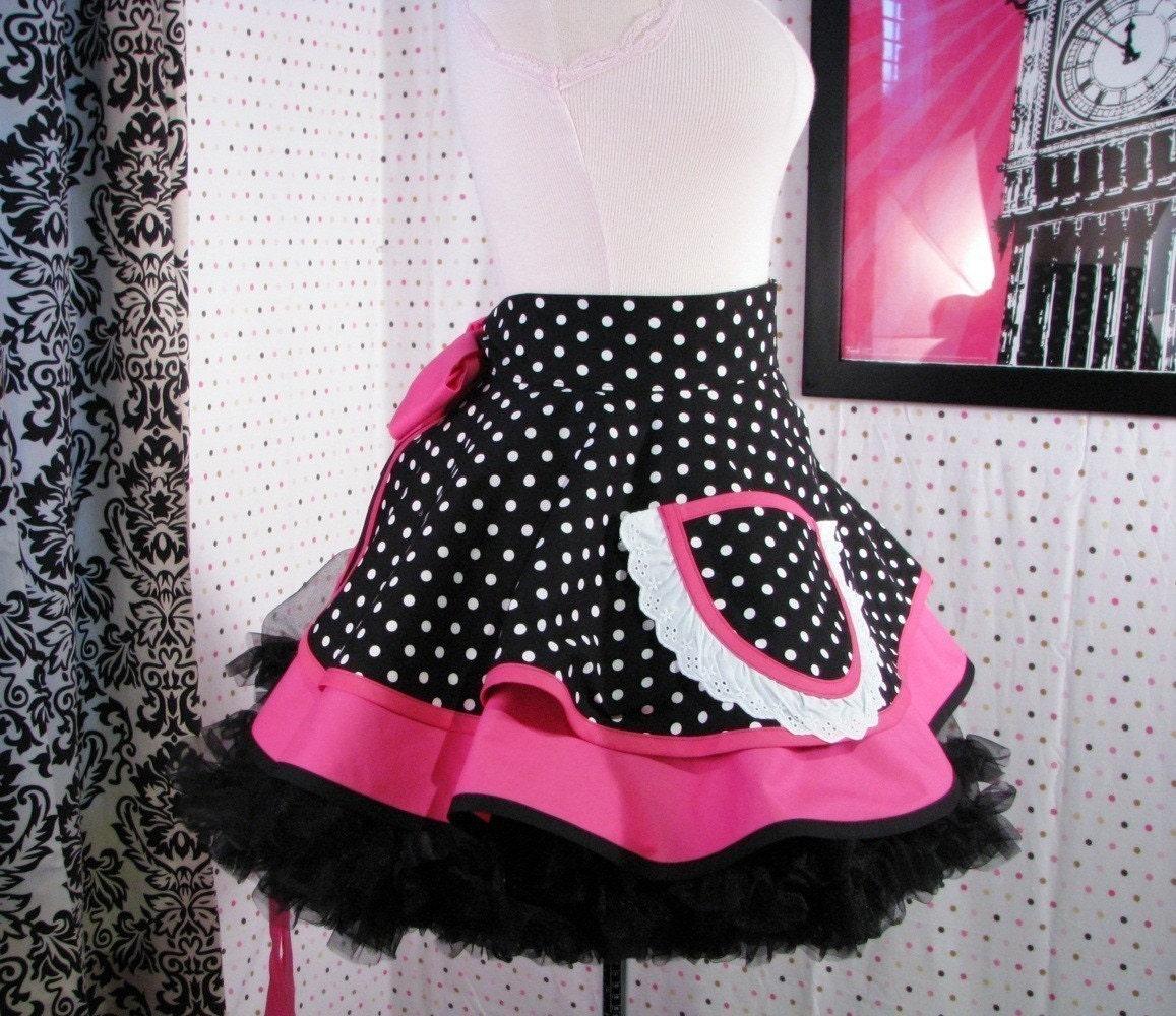 Car Hop Apron Black Polka Dot and Hot Pink Retro 50s Cute