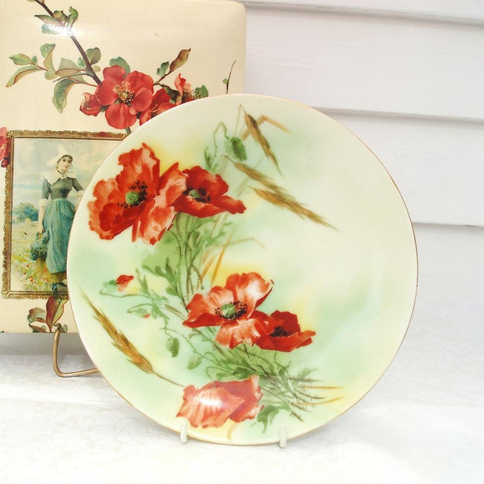 Antique German Plate Orange Roses Bavaria China Cabinet Plate Decorative Wall Art  Red Green - WhimzyThyme
