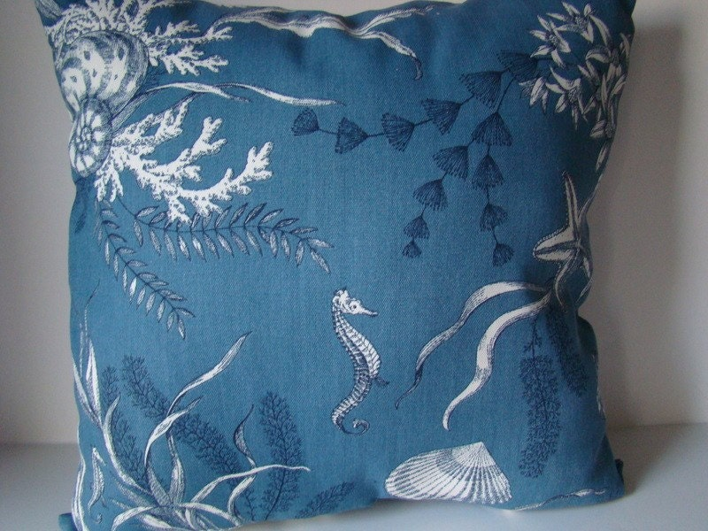 Outdoor pillow  Blue and White Nautical by mustlovehomedecor