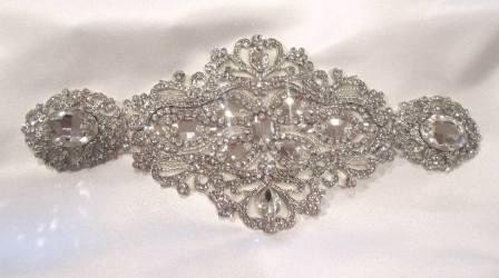 Bridal Dress Gown Beaded Jeweled Crystal Belt Sash  Brooch