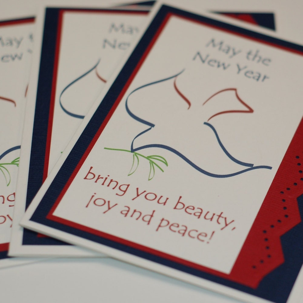 Dove New Year Joy Peace and Beauty handmade Christmas or Hanukkah card- set of 4 - Cyber Sale see code