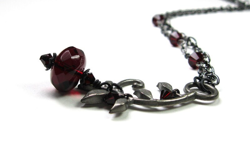 Black Cherry Czech Glass Vintage Style Necklace