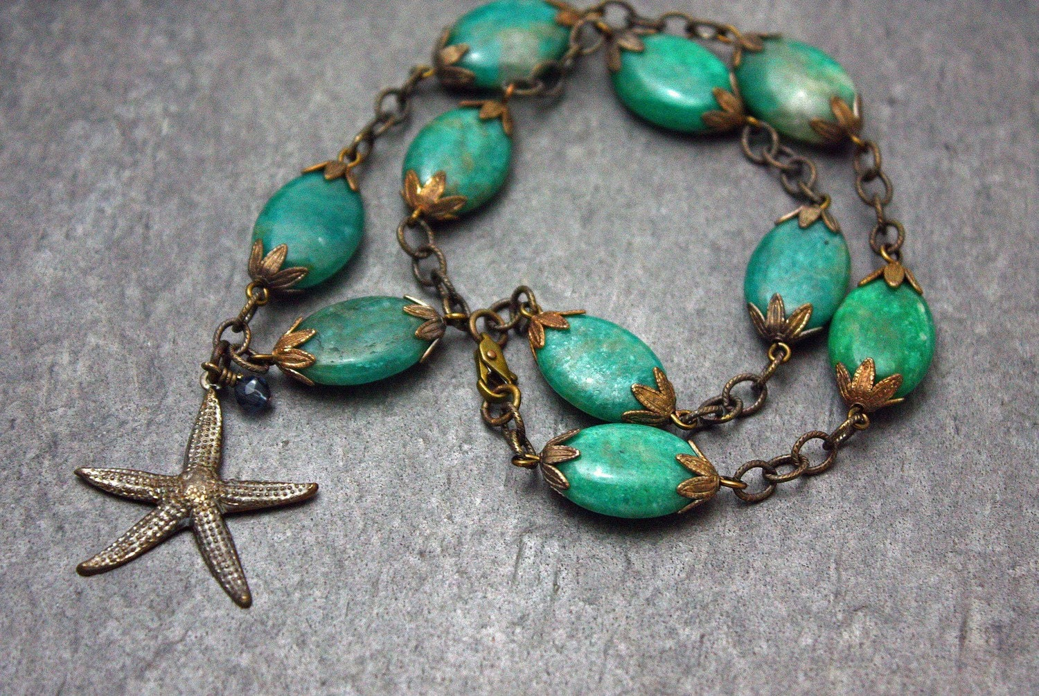 Sea Life necklace- Amazonite and brass