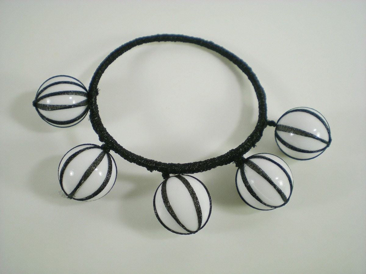 Black And White Ribbon Fun  Bubble Stripes Bangle by paleodeux from etsy.com