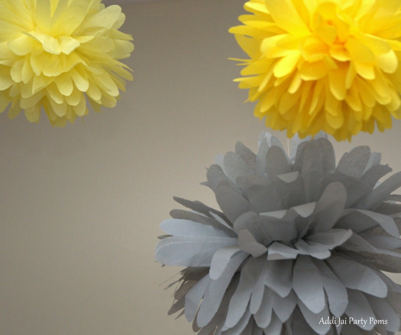 Partly Sunny gray and yellow pom pom set of 3