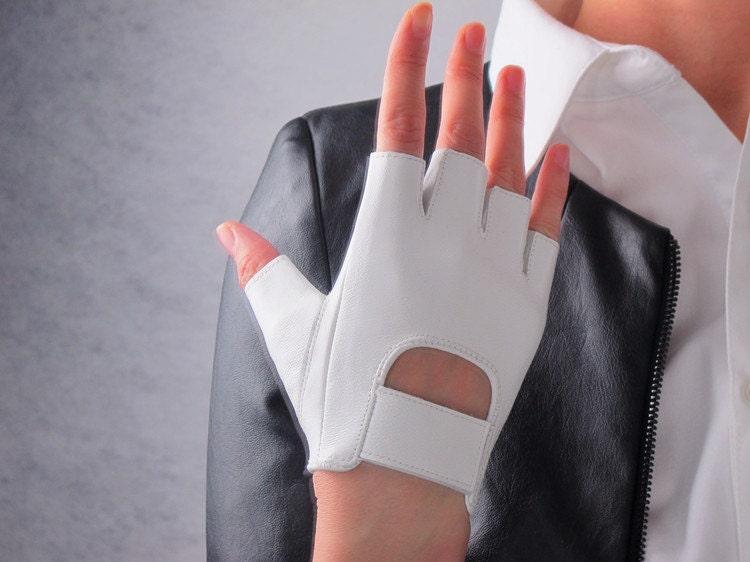 real leather fingerless short gloves white by eastworkshop