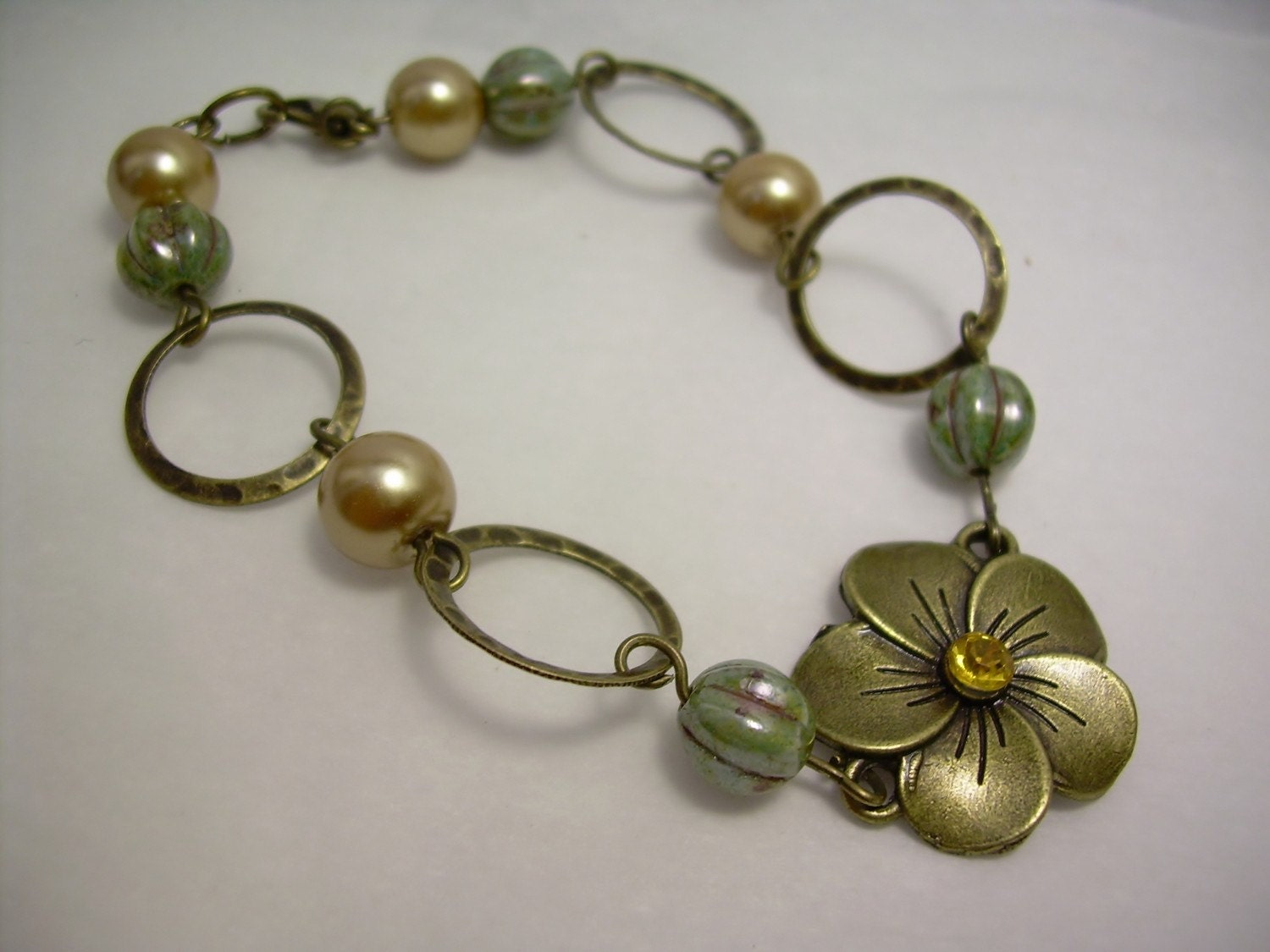 Antiqued Hammered Brass Circle and Flower Bracelet