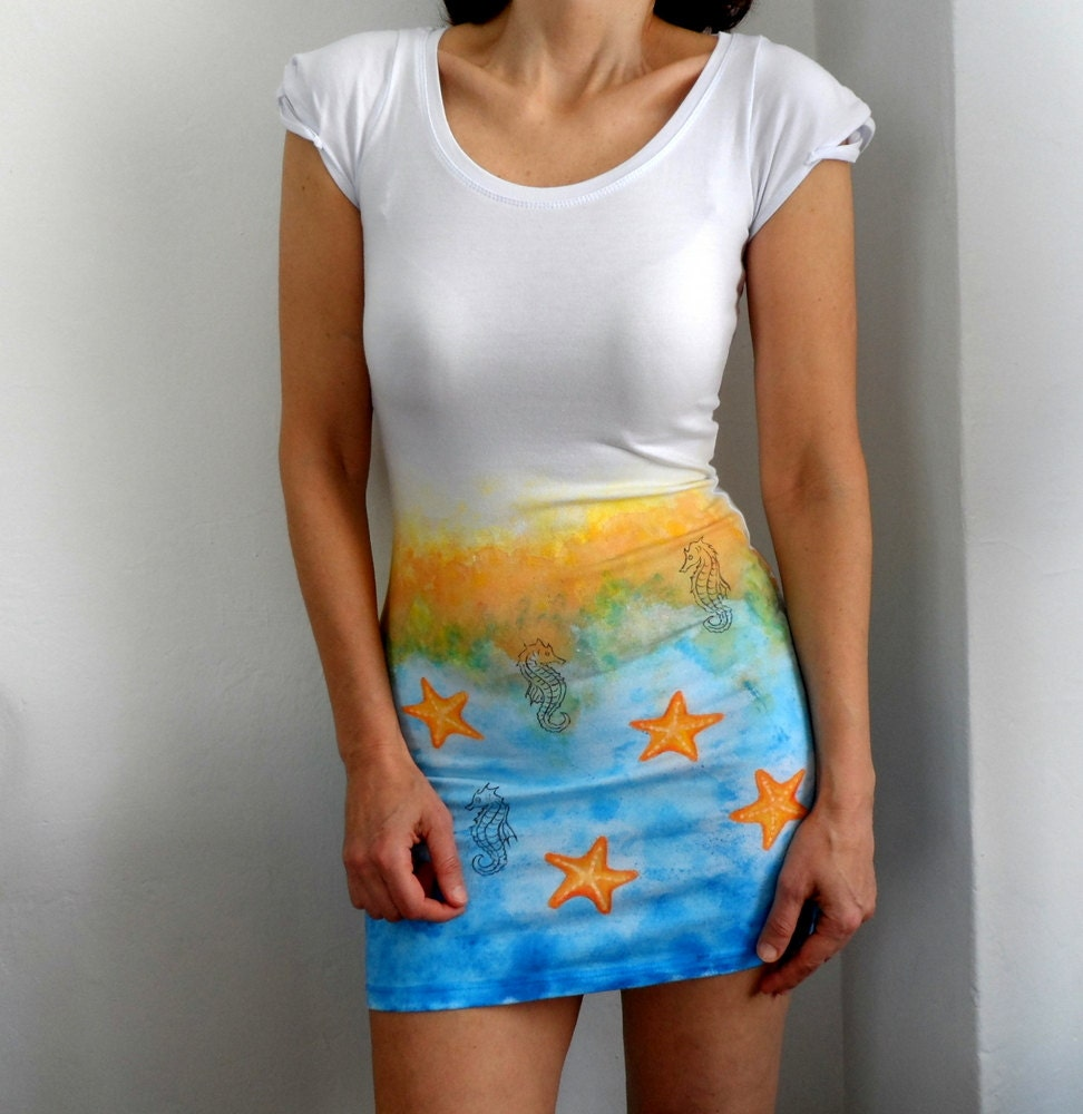 Mini Summer Beach Dress, Hand Painted Marine Stretch Cotton Dress, Tunic - ShebboDesign