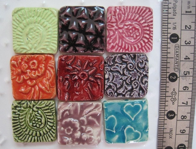 3 handcrafted ceramic mosaic cabochons - lovely