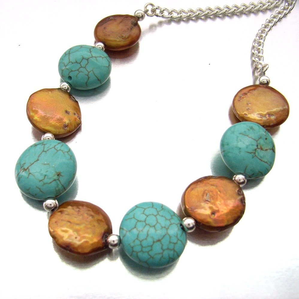 Handmade  turquoise coin and freshwater golden coin pearl necklace