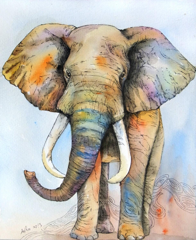 OOAK 8x10 Original Watercolor Elephant Art Nursery By Asho