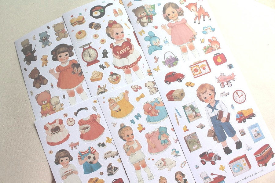 Paper doll stickers Version 2 - Korean stationery - 6 sheets - RhinoandRoo