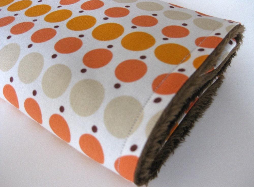 Minky Security Blanket / Tangerine Dots