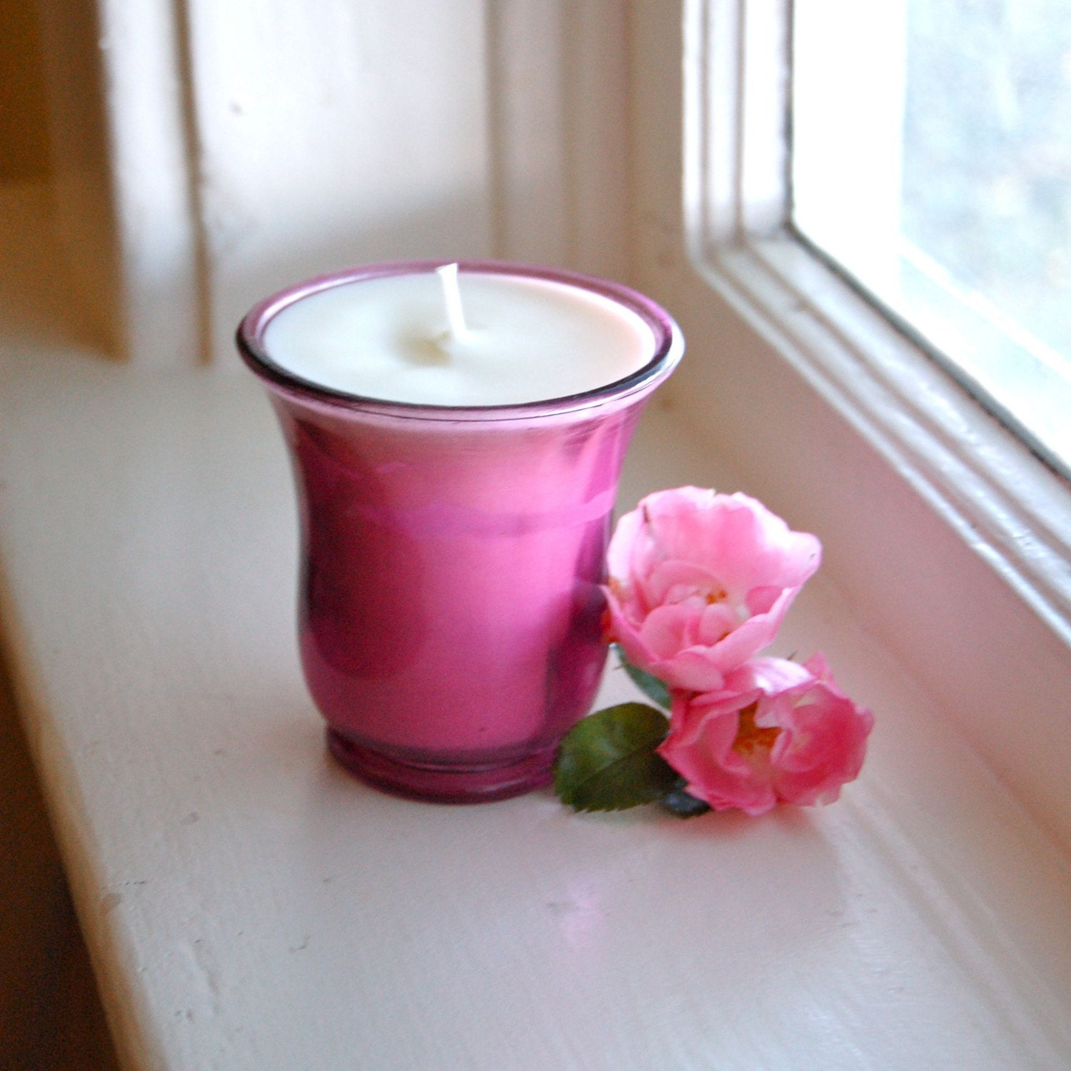 Made to Order Soy Candle: Pink Vintage Inspired Glass