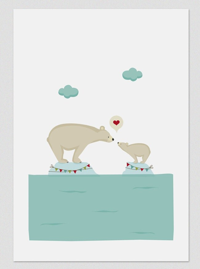 Ilustración. Amor polar. Poster A4