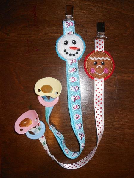 Items similar to in the hoop christmas binky holder design