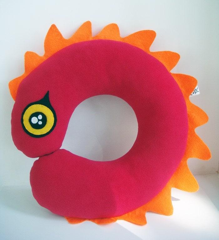 Hot pink Worm  - Travel / Neck Pillow