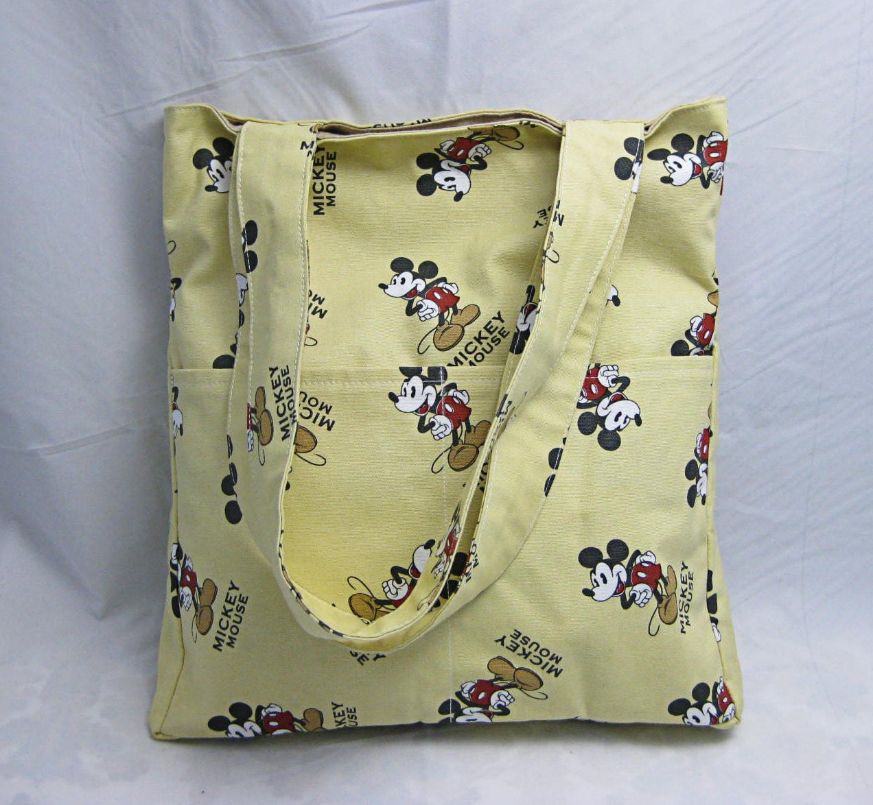 Yellow cotton canvas tote bag zippered pocket inside-Mickey