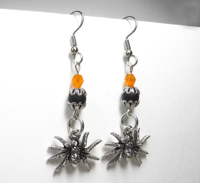 Halloween earrings Gothic Spider Orange, black, and silver