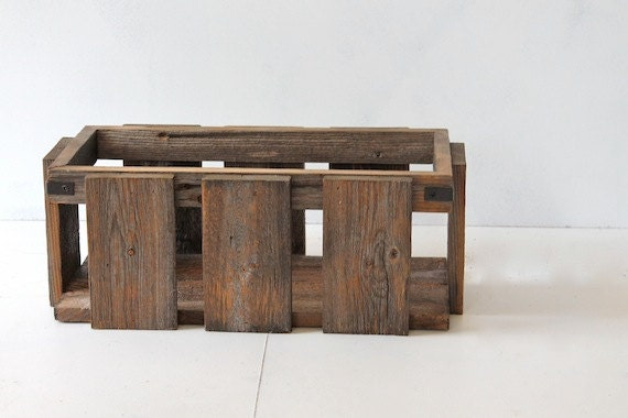 Rustic Modern Industrial Reclaimed Wood Crate Box Caddy