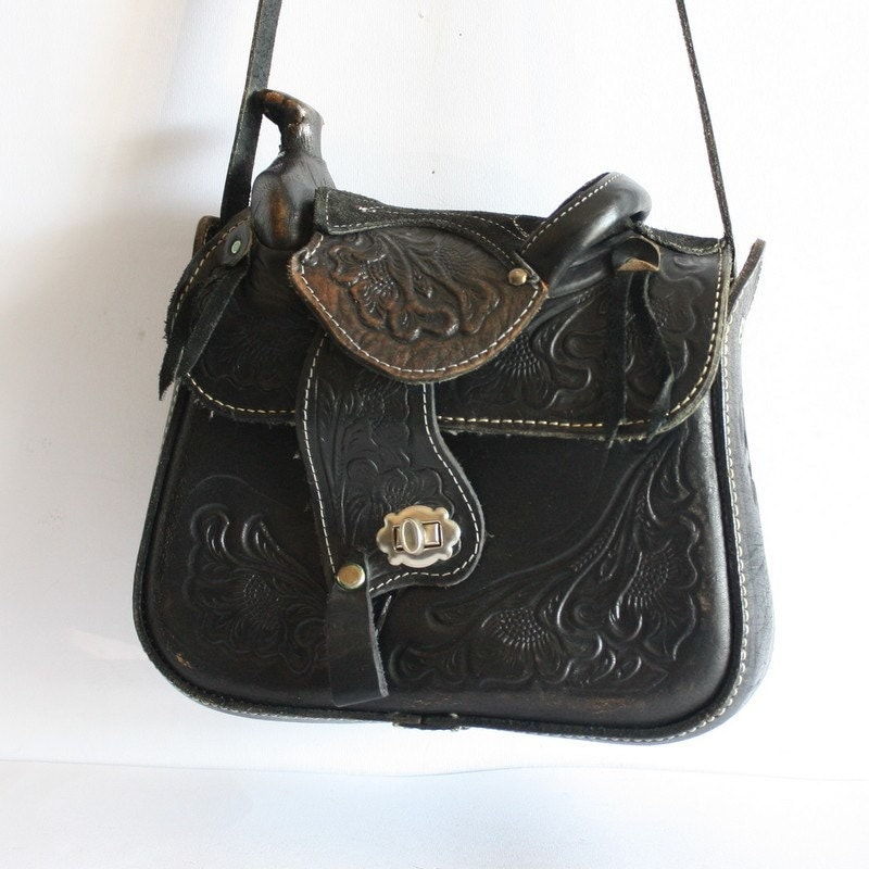 Western Tooled Leather Cowgirl Rodeo Saddle Bag Tote