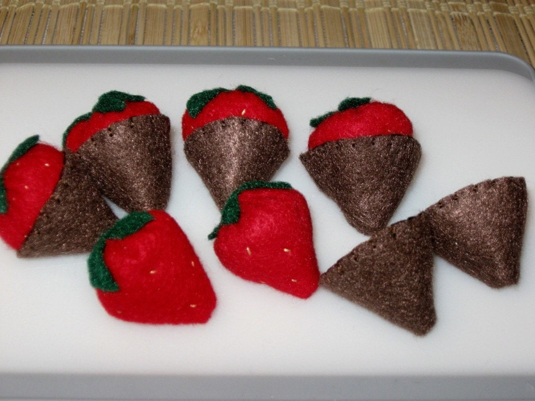 Felt Chocolate Covered Strawberries with Removable Chocolate Coating - Felt Play Food