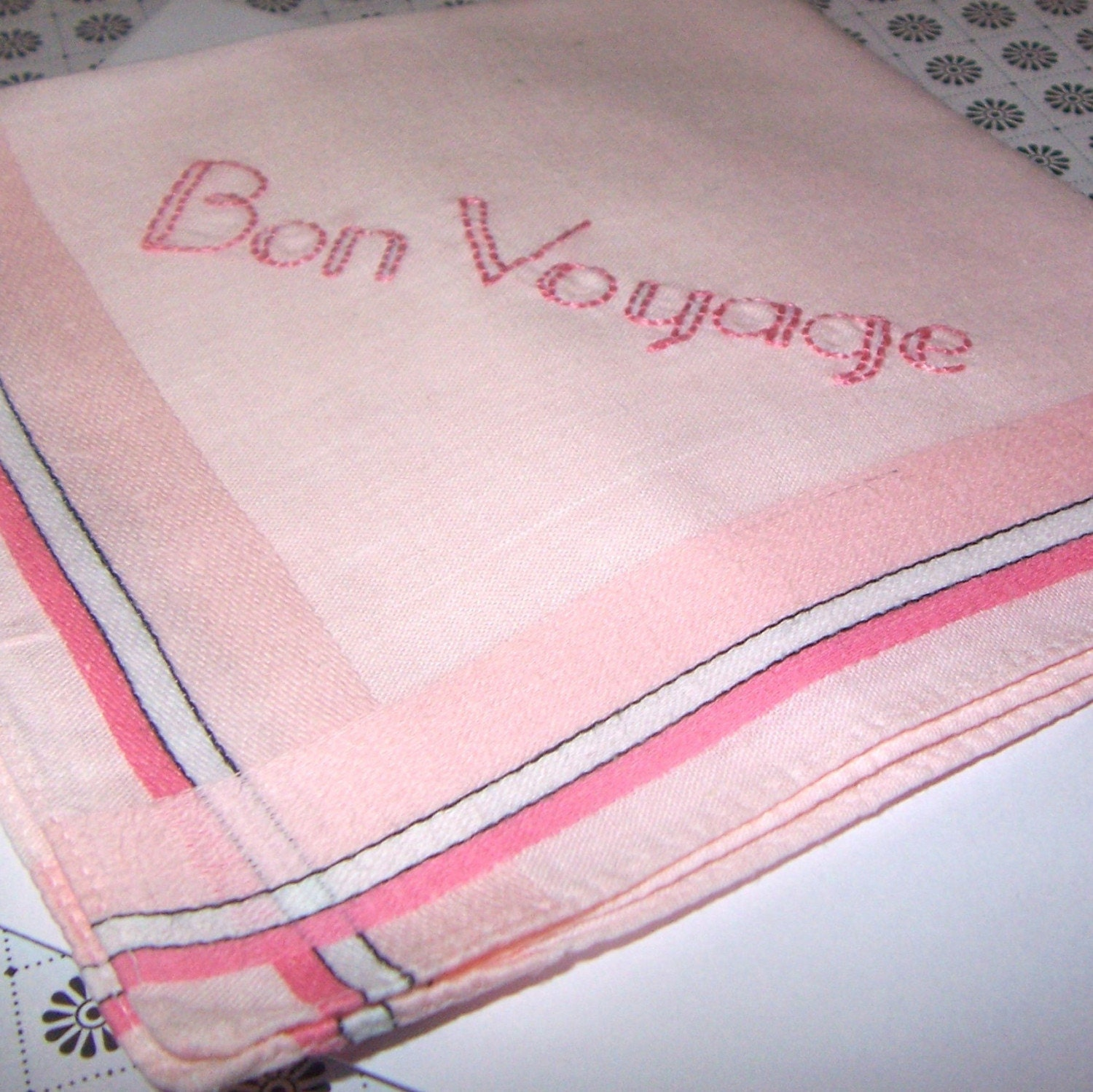 Hand Embroidered Vintage Handkerchief -- Pink with Stripes -- BON VOYAGE Embroidery