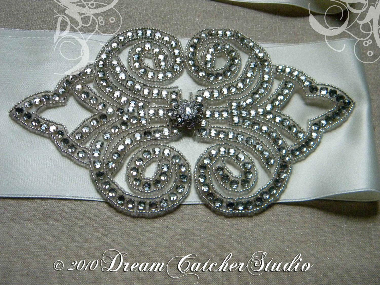 Brielle Vintage Looking Swarovski Crystal, Ivory Satin Ribbon,Wedding Gown Belt, Sash, super Glam