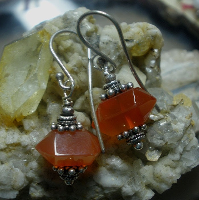 Carnelian and Silver Earrings
