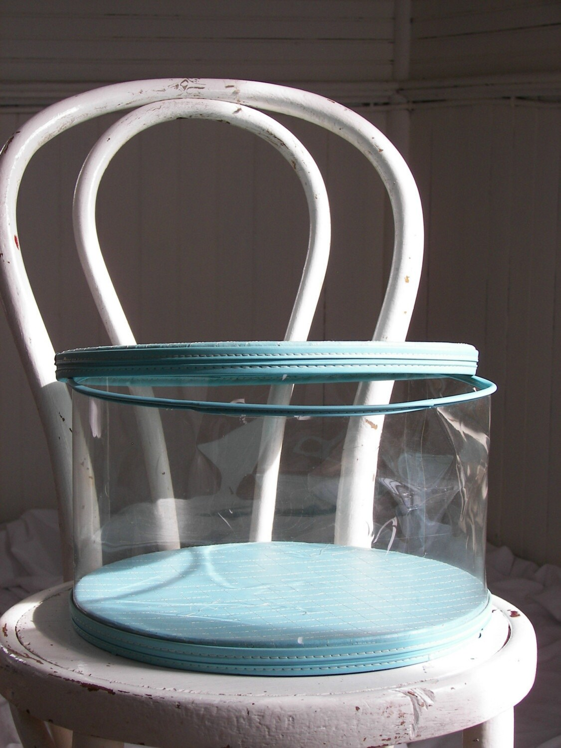 Acrylic Hat Boxes : Items similar to vintage teal and clear plastic wig or hat