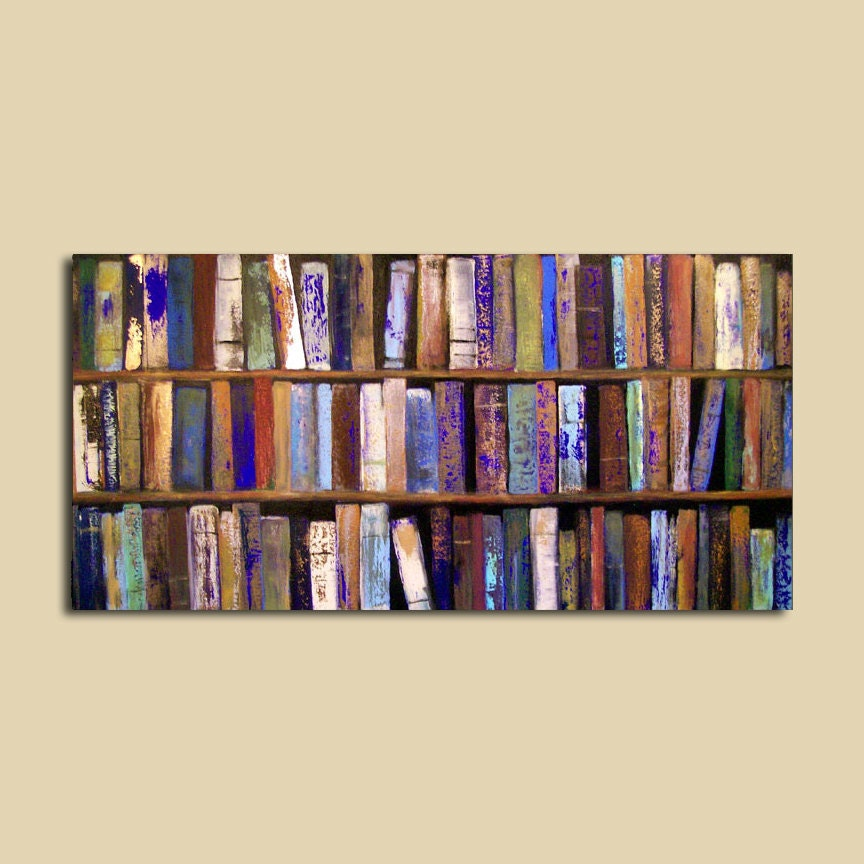 Abstract Painting Library Books 24 X 48 By