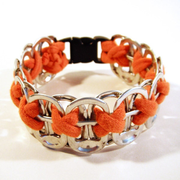 Upcycled Soda Pop Tab and Bright Orange Tee-Shirt Bracelet