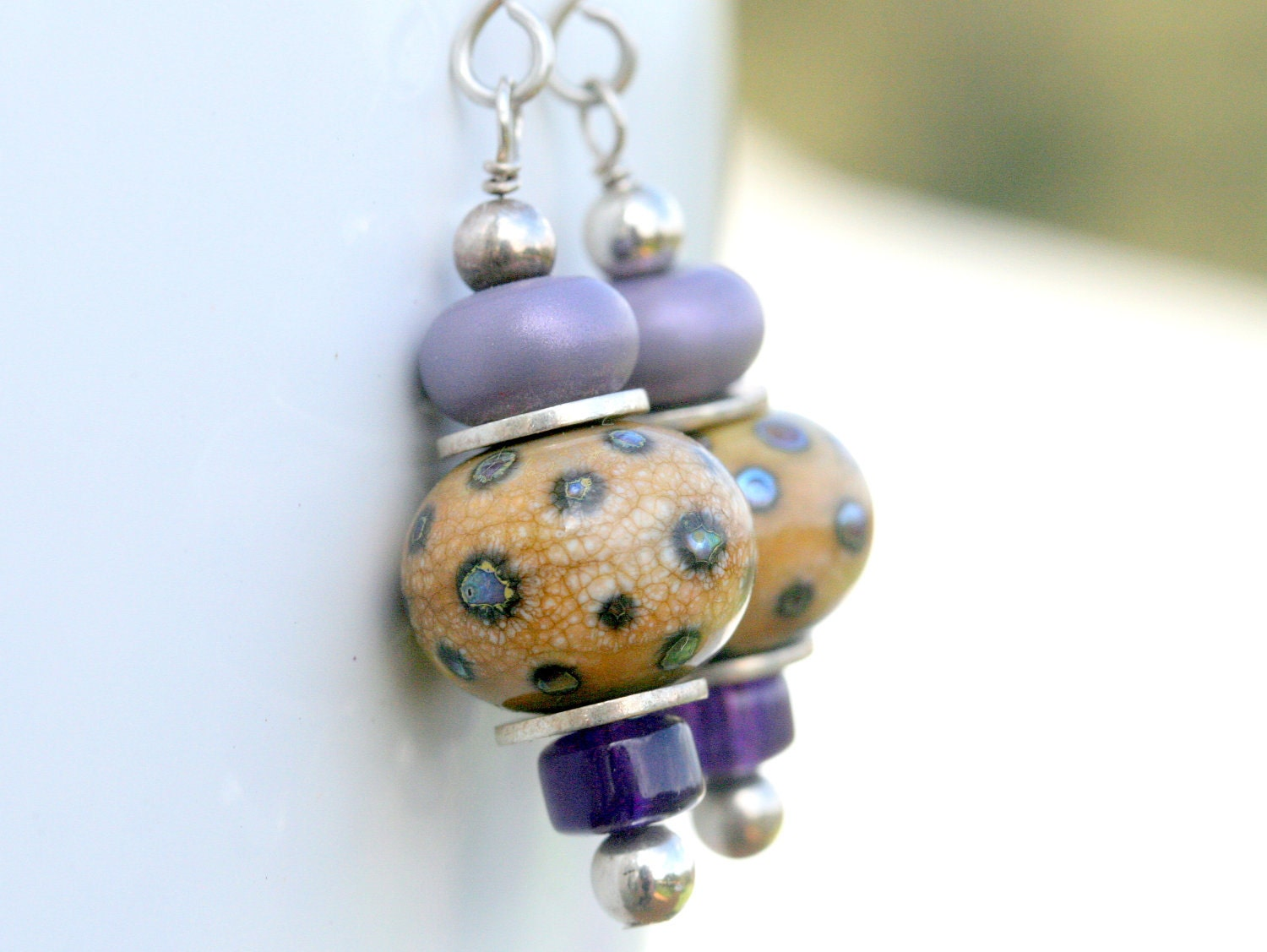 Sandy Silver dots artisan lampwork and sterling silver earrings