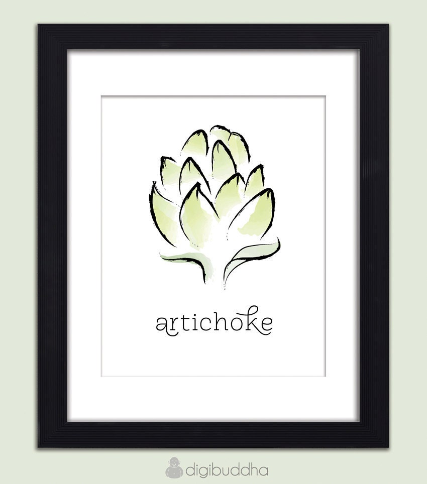 Artichoke Vegetable Food Poster Typography by digibuddhaArtPrints