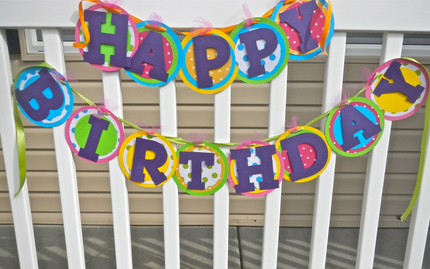 items similar to colorful happy birthday banner on etsy