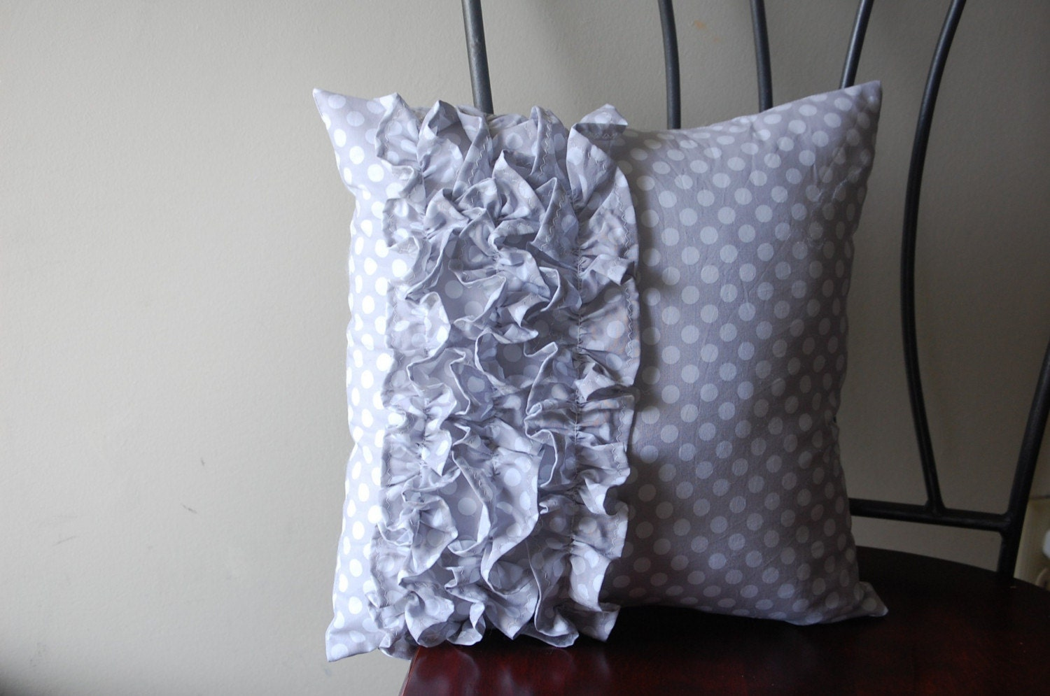 Side Ruffles Pillow in Gray/White Polkadot Cotton