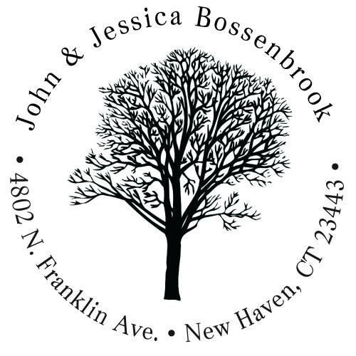 Custom Rubber Stamp John and Jessica Tree Design R022