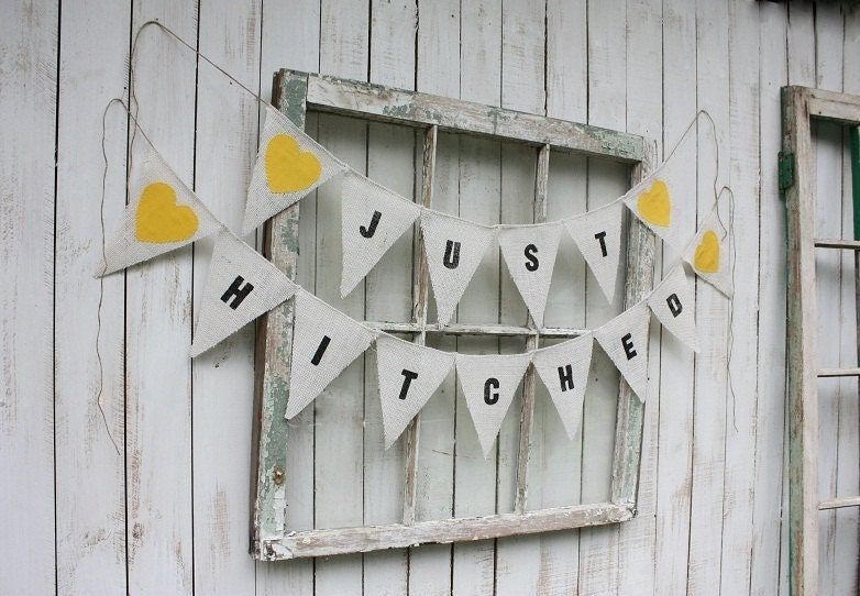 Just Hitched burlap banner with canary yellow hearts
