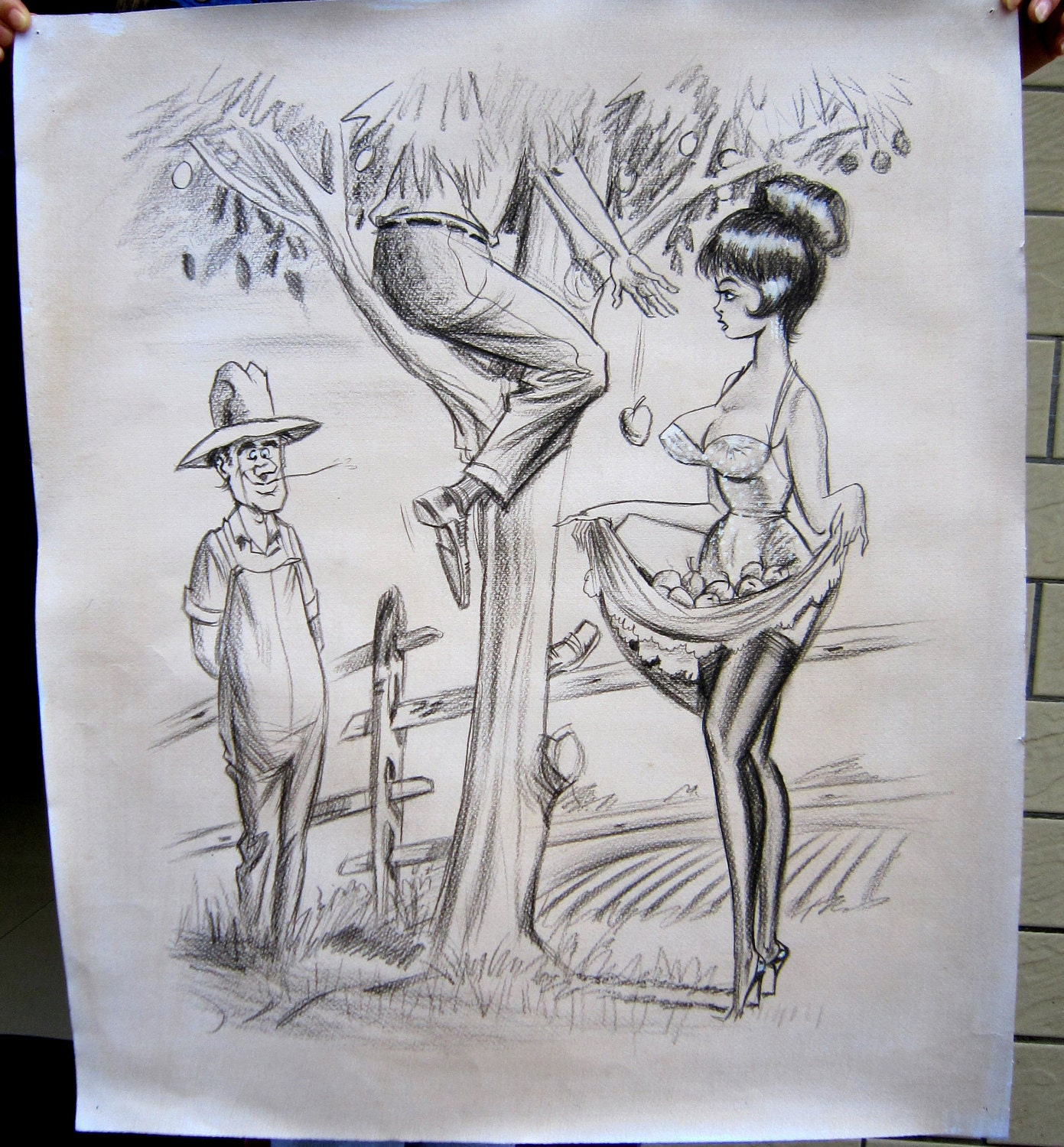 Apple Picking Time-Adult cartoon (in style of Bill Ward), hand drawn o.