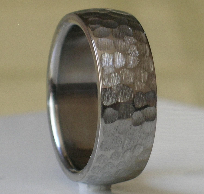 Hammered Finish Bands: Titanium Wedding Band Comfort Fit Custom Designed By