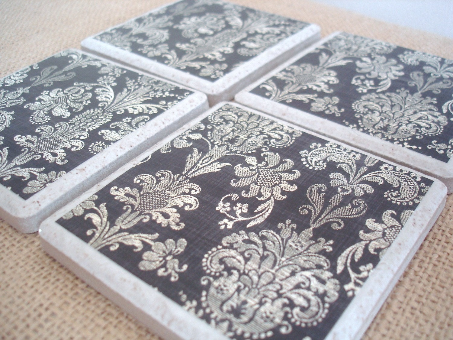 Shabby Damask Coasters-A Vintage-Inspired Set by burlap and blue