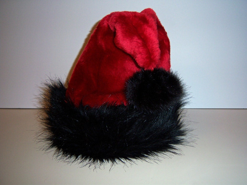 Gorgeous red santa hat with black fur trim by originalsbyeva