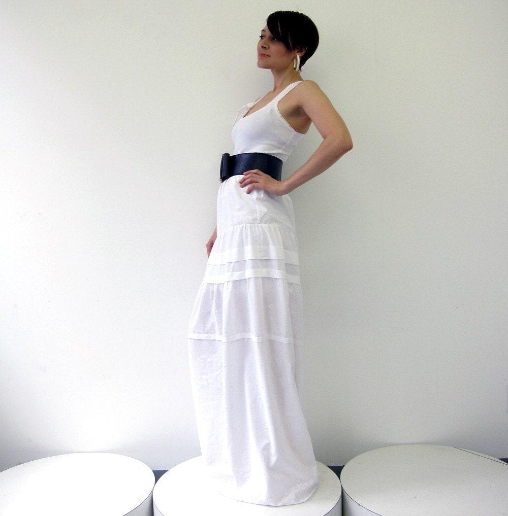 White cotton eyelet maxi dress - SMALL - sample sale