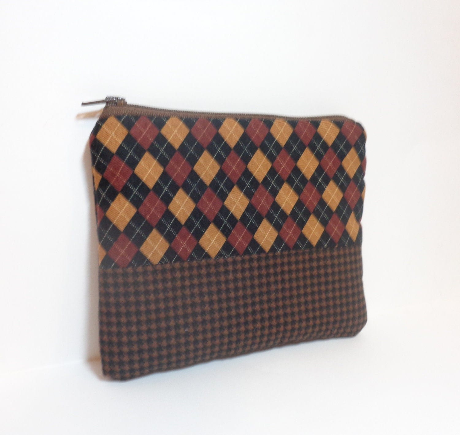 Small Pouch Small Wallet Small Coin Purse Argyle and Houndstooth in Brown - handjstarcreations