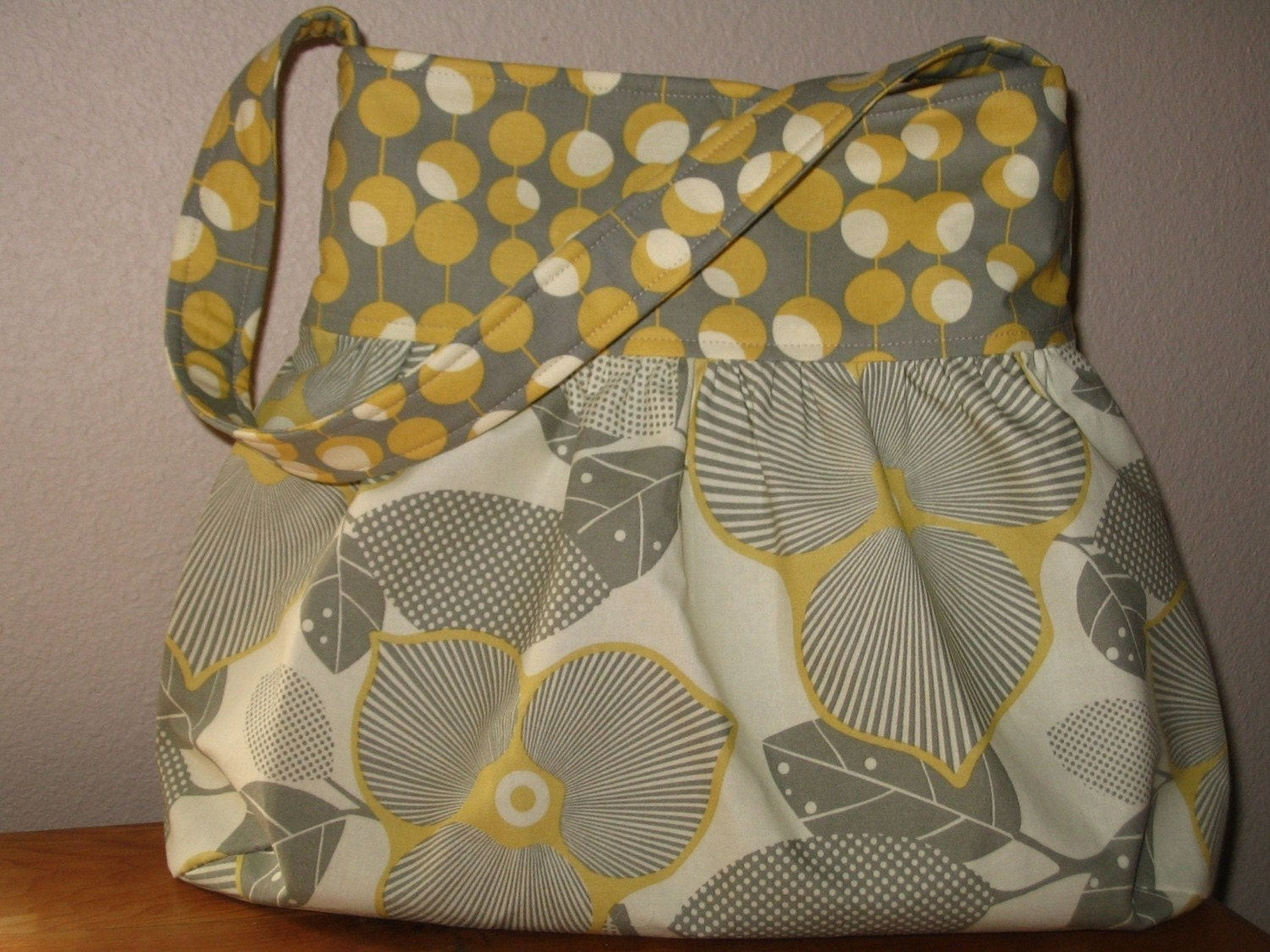 Amy Butler's Optic Blossom and Martini Dots in Mustard Gathered Shoulder Boutique Bag