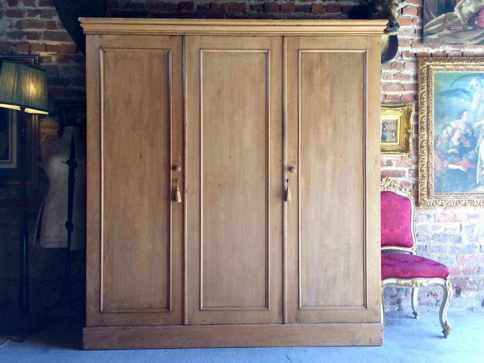 Antique Wardrobe Compactum Triple Section Solid Pine Victorian 19th Century Huge
