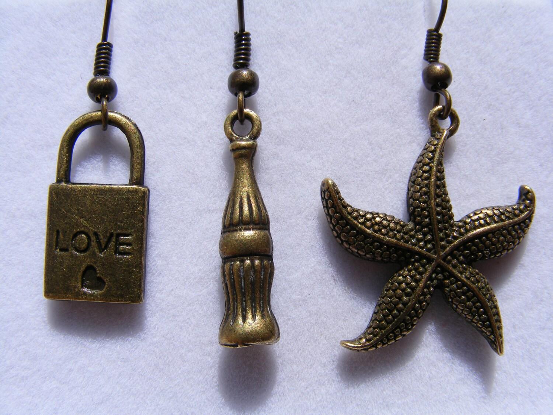 Earrings Bronze Lock, Chess, Starfish (choice of)