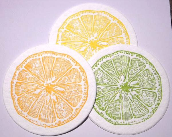 A Day in May Lemon, Lime and Ornage Coasters set of 12 ( 4 each color)